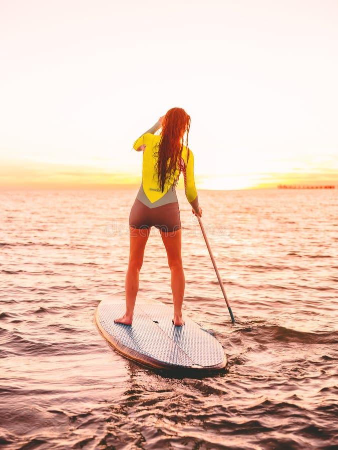 La mujer deportiva atractiva se levanta la paleta que practica surf con colores hermosos de la puesta del sol o de la salida del  imagenes de archivo