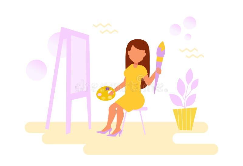 La mujer dibuja base ilustración del vector