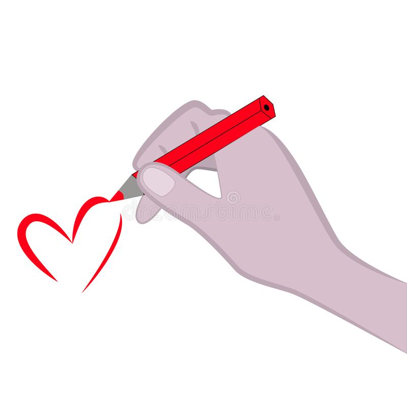 La mujer dibuja un corazón ilustración del vector