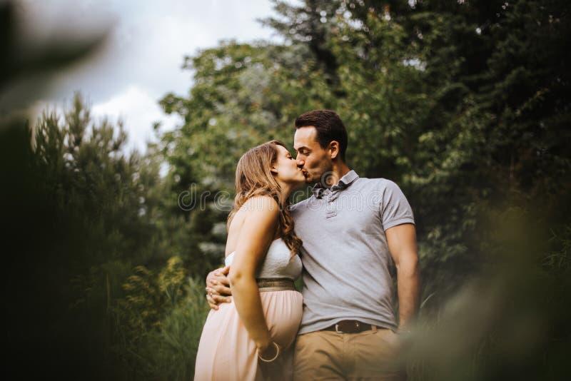 La mujer embarazada besa a su socio foto de archivo