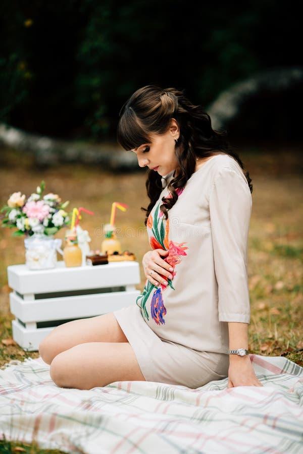 La mujer embarazada hermosa es que se sienta y que parece preciosa en el vientre imagen de archivo libre de regalías