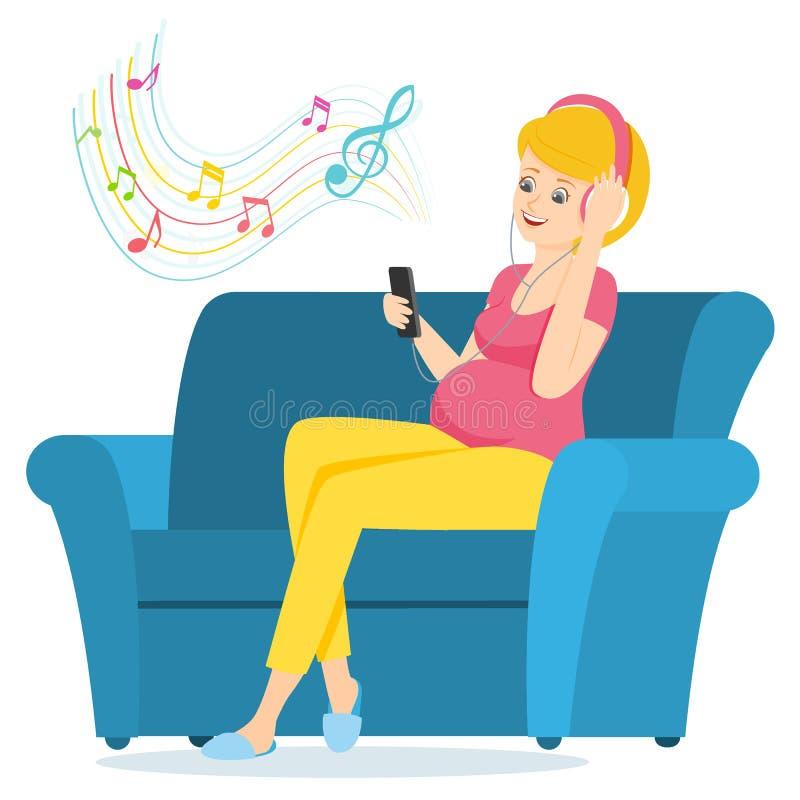La mujer embarazada se sienta en un sofá y escucha la música stock de ilustración