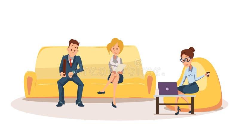 La mujer en Bean Bag Chair, empleado se sienta en el sofá ilustración del vector