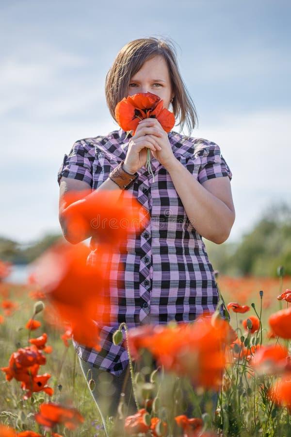 La mujer en campo de flor huele el manojo de amapolas fotografía de archivo libre de regalías