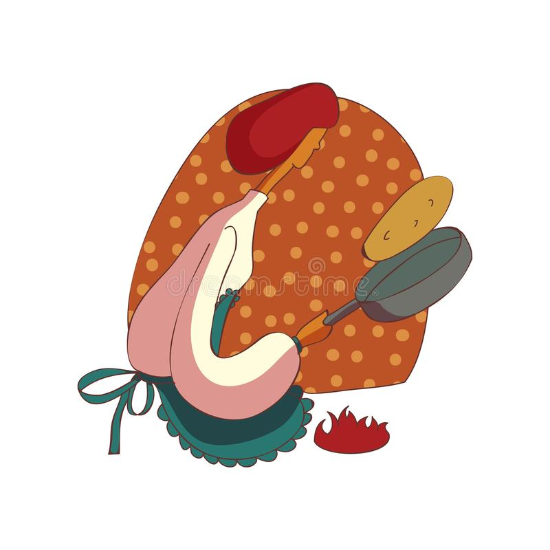La mujer en delantal cuece las crepes en cacerola stock de ilustración