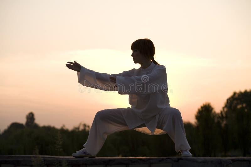 La mujer en el juego blanco hizo taiji ejercicio chuan imágenes de archivo libres de regalías