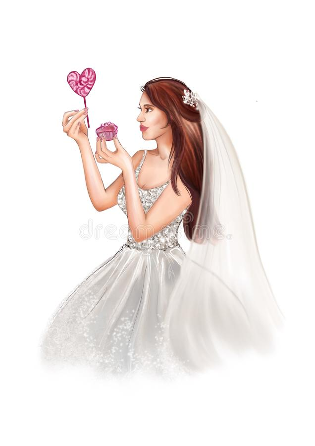 La mujer en el vestido nupcial blanco sostiene la torta con las bayas y la piruleta en forma del corazón stock de ilustración