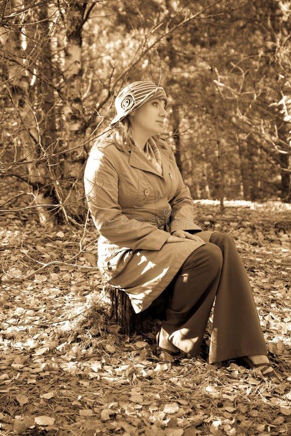 La mujer en estilo de un retro foto de archivo