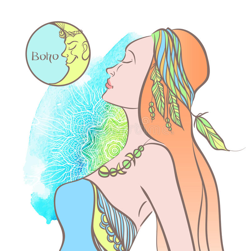 La mujer en la ropa Estilo de Boho libre illustration