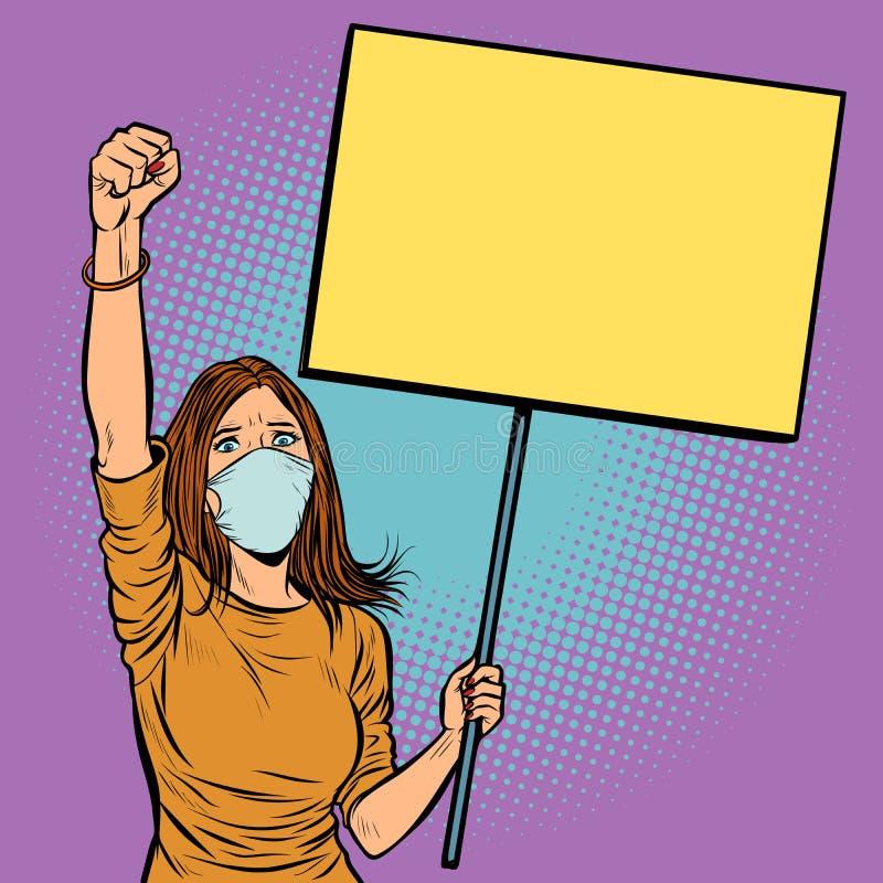 La mujer en máscara médica protesta con un cartel libre illustration