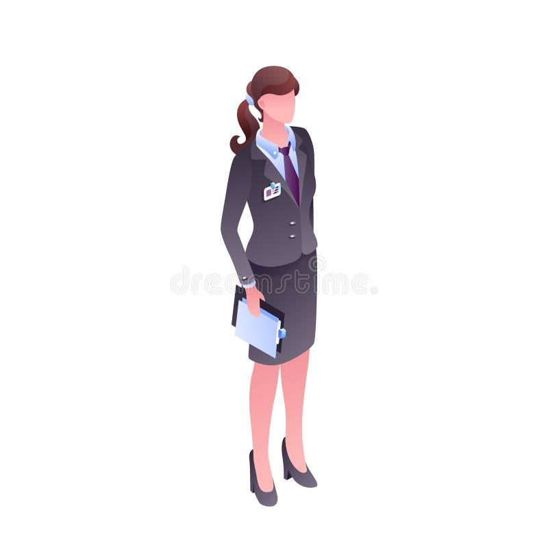 La mujer en oficina viste el ejemplo anónimo del vector libre illustration