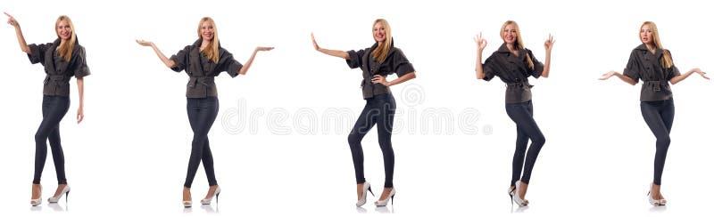 La mujer en la ropa de moda aislada en blanco imagenes de archivo