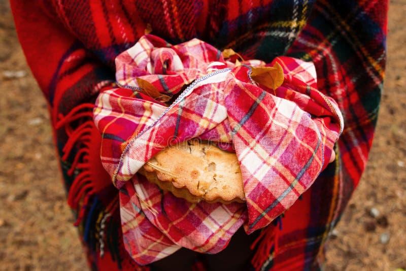 La mujer en tela escocesa escocesa roja está sosteniendo la empanada de manzana en la toalla a cuadros roja imagen de archivo libre de regalías