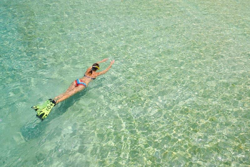 La mujer en traje de baño está nadando con el tubo respirador y las aletas en un wa azul imagen de archivo
