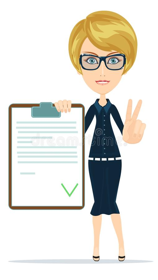 La mujer en traje, encargado o agente muestra un documento, seguro ilustración del vector