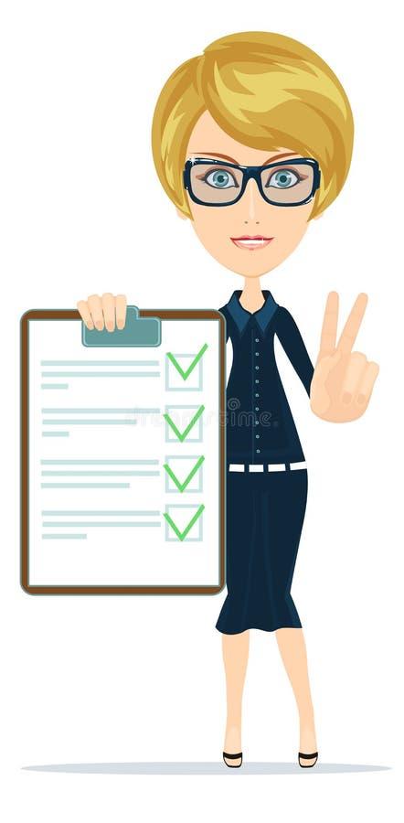 La mujer en traje, encargado o agente muestra un documento, seguro libre illustration