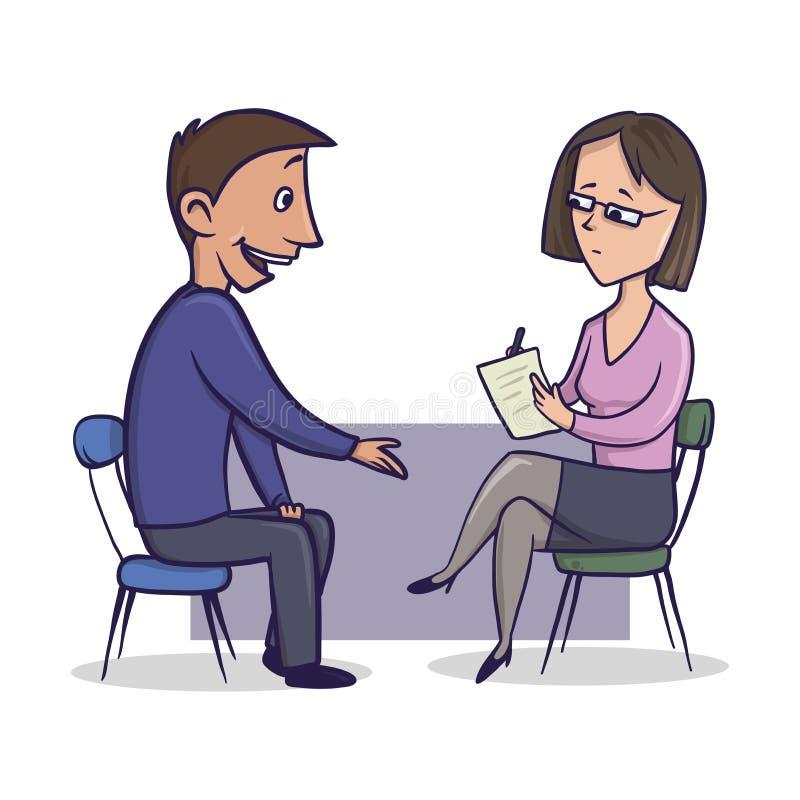 La mujer en traje y vidrios de la oficina escucha un hombre y hace notas El hombre habla con una mujer que se sienta enfrente de  stock de ilustración