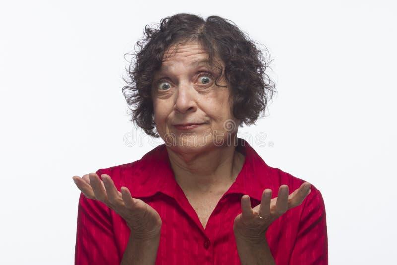 La mujer encoge, no tiene respuesta, horizontal fotografía de archivo