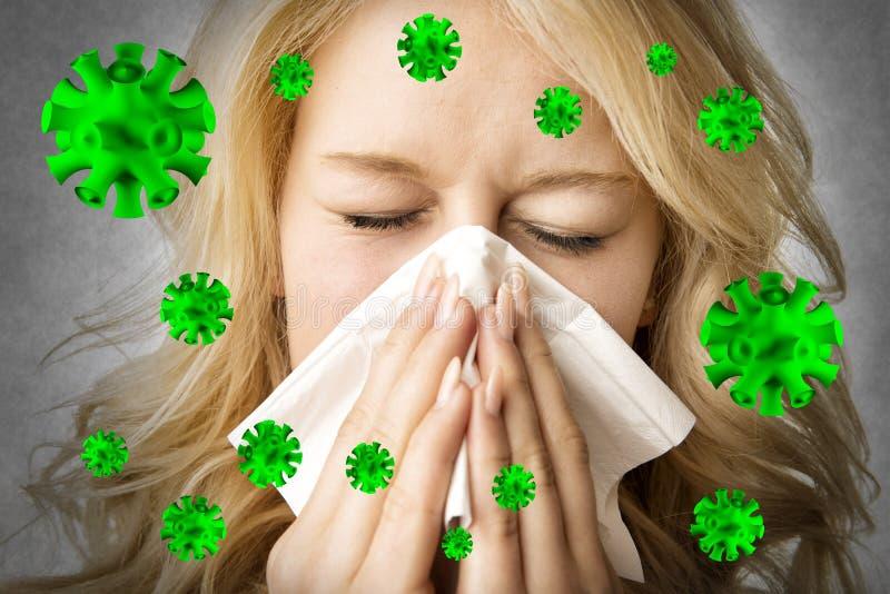 La mujer enferma con el tejido es virus de estornudo stock de ilustración