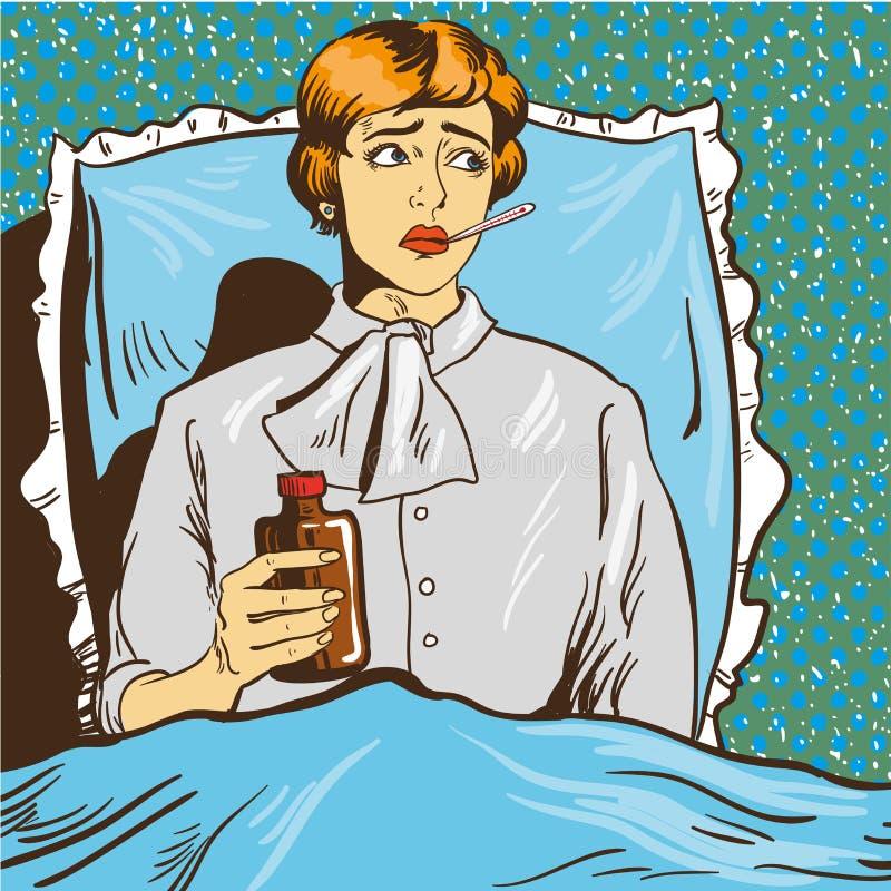 La mujer enferma con fiebre se acuesta en una cama en sitio de hospital La muchacha sostiene el termómetro en su boca Estallido d ilustración del vector