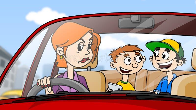 La mujer enojada que conduce el coche, niños se sienta en el asiento trasero stock de ilustración
