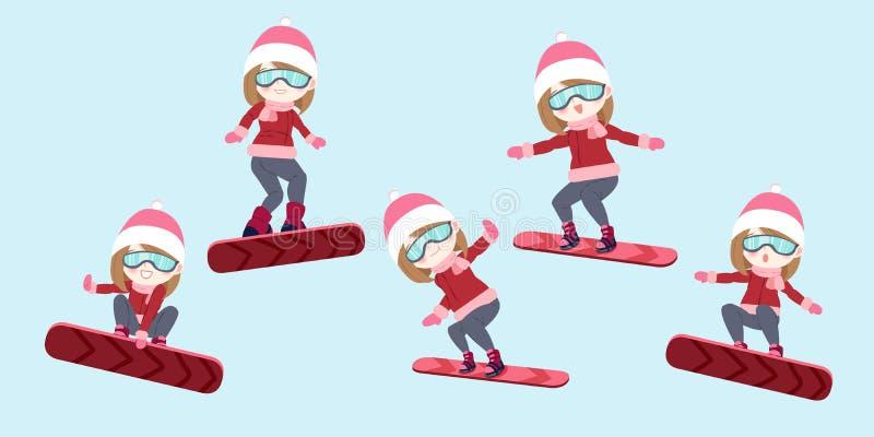 La mujer es snowboard stock de ilustración
