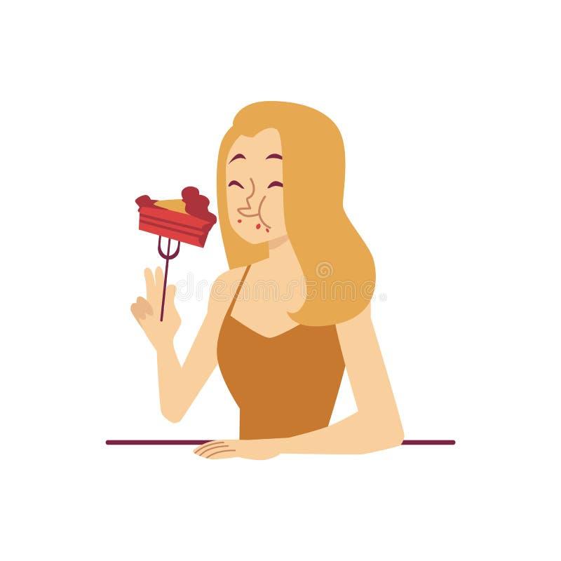 La mujer está comiendo el pedazo de estilo de la historieta de la bifurcación del postre de la tenencia de la torta ilustración del vector