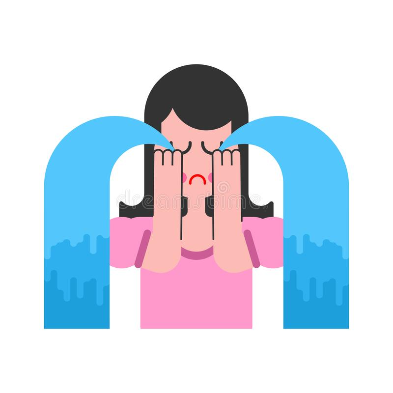 La mujer está llorando histeria femenina Fuentes de rasgones Porción de te libre illustration