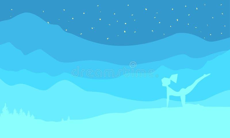 La mujer está practicando yoga en la naturaleza, fondo del paisaje, hermosa vista, protagoniza las montañas del cielo y el bosque ilustración del vector