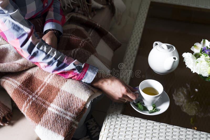 La mujer está sosteniendo una taza de té fotografía de archivo