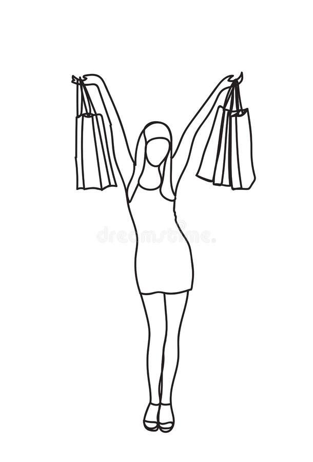 La mujer feliz de la silueta que sostiene los panieres aislados garabatea concepto femenino alegre de las ventas stock de ilustración