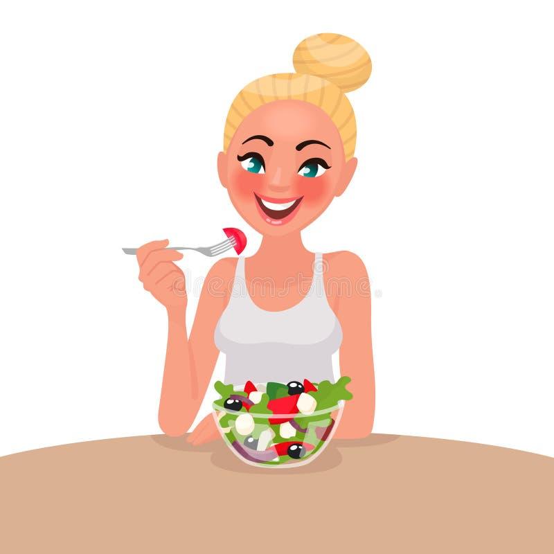 La mujer feliz está comiendo una ensalada vegetariano El concepto de apropiado stock de ilustración