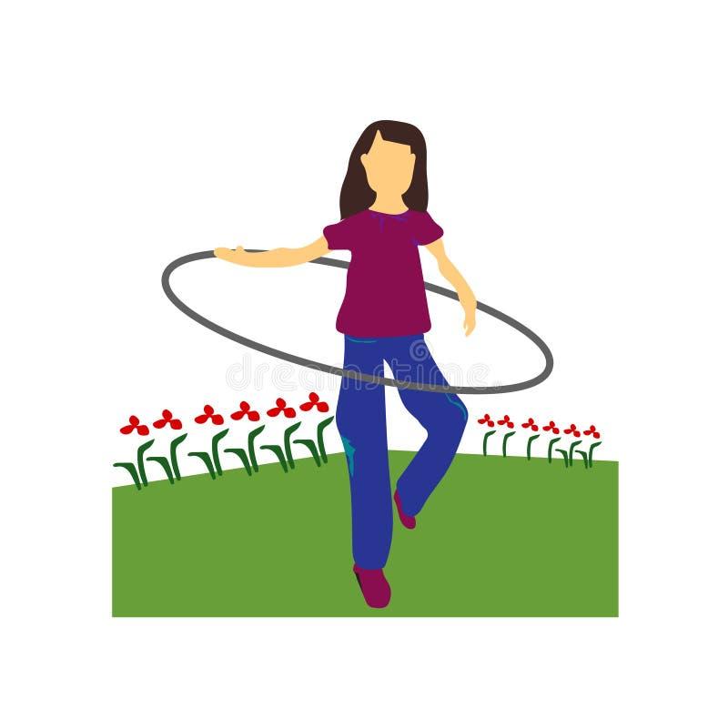 la mujer gira la muestra del vector del vector del aro del hula y el símbolo aislado en el fondo blanco, mujer gira concepto del  ilustración del vector