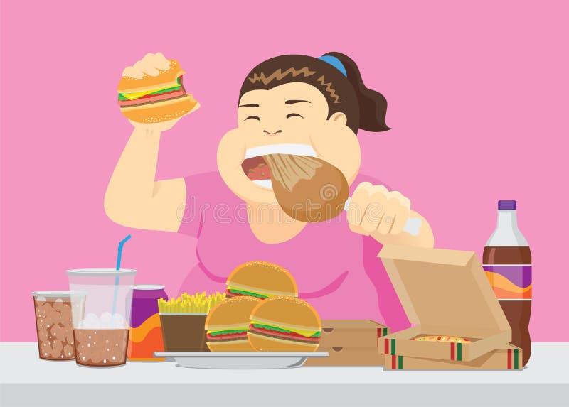 La mujer gorda goza con muchos alimentos de preparación rápida en la tabla libre illustration
