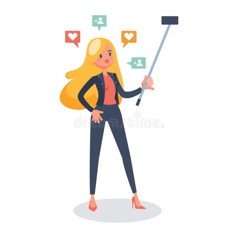 La mujer hace el selfie en el tel?fono m?vil stock de ilustración