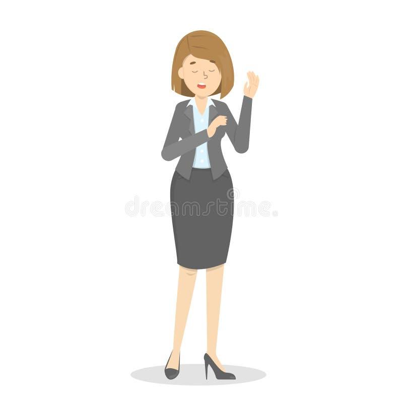 La mujer hace promesa de hablar la verdad stock de ilustración