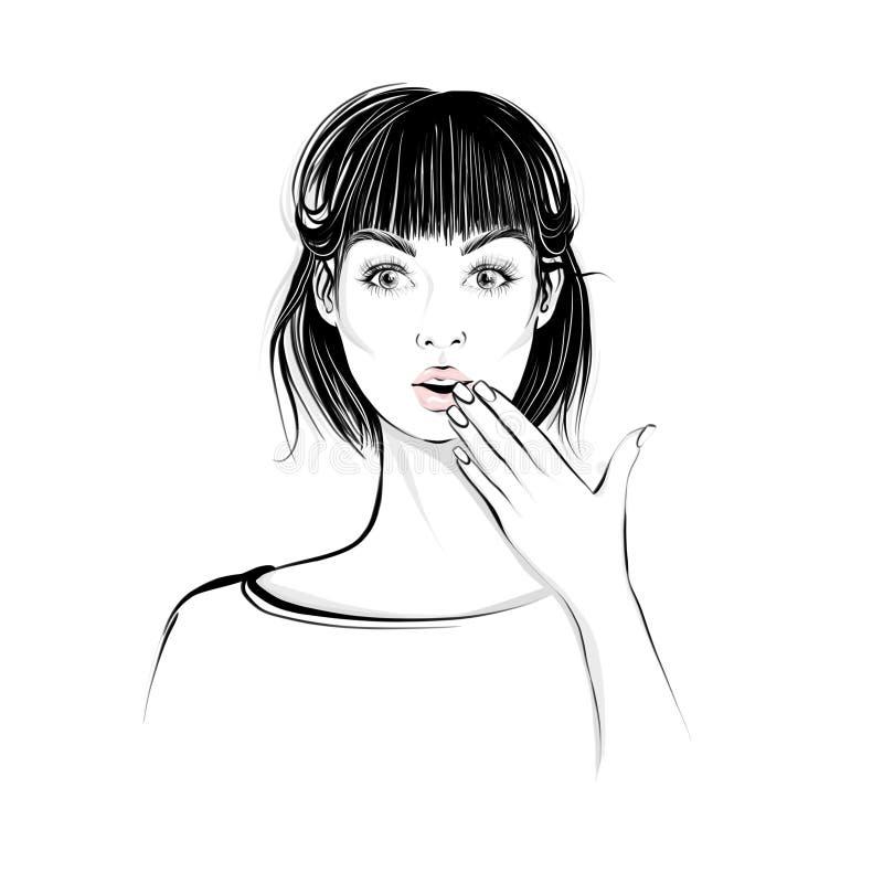 La mujer hermosa con el pelo medio de la longitud, mira derecho con la expresión sorprendida stock de ilustración