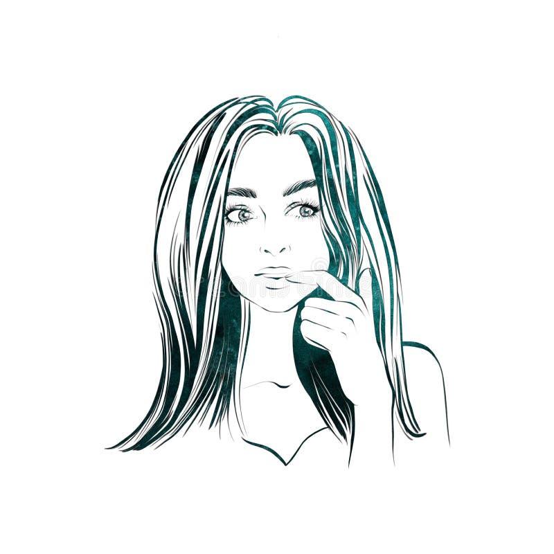 La mujer hermosa con el pelo oscuro largo, mira a un lado con la expresión pensativa, desconcertó femenino stock de ilustración