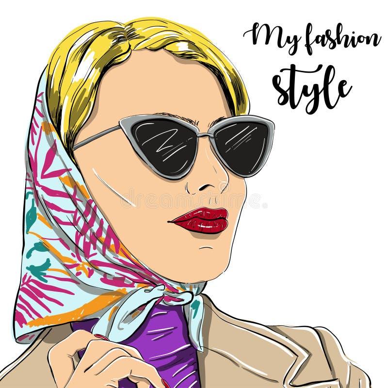 La mujer hermosa de la moda en gafas de sol vector el ejemplo EPS ilustración del vector