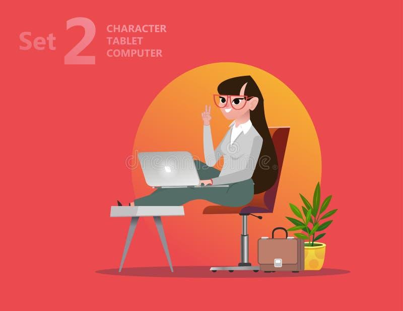 La mujer hermosa del diseñador está trabajando en su ordenador portátil ilustración del vector