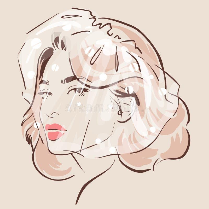 La mujer hermosa en velo con un pelo elegante hace stock de ilustración