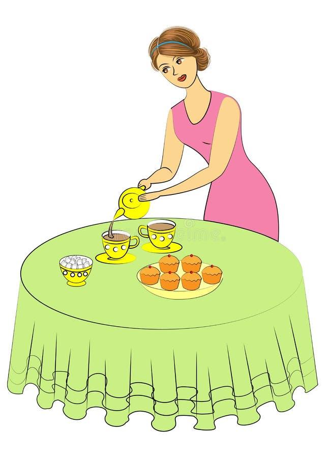 La mujer hermosa está cocinando La señora vierte té en las tazas La muchacha fija la tabla Ilustraci?n del vector stock de ilustración