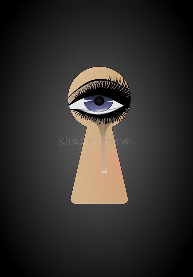 La mujer hermosa está mirando a escondidas en el ojo de la cerradura y está llorando, vertical, vector stock de ilustración