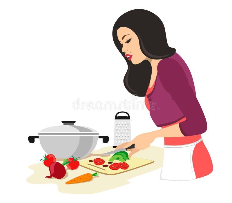La mujer hermosa est? cocinando E Ilustraci?n del vector en el fondo blanco Ama de casa ilustración del vector