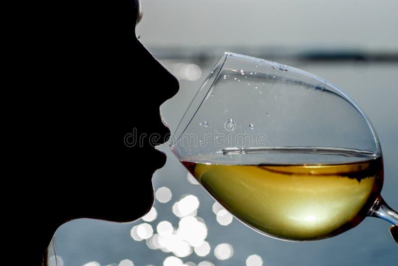 La mujer hermosa joven del primer está bebiendo el vino blanco foto de archivo libre de regalías