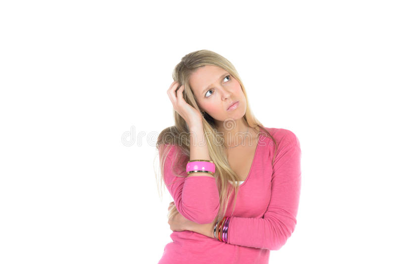 La mujer hermosa joven tiene dolor fotografía de archivo