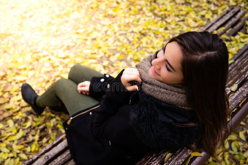 La mujer hermosa que se sienta en un banco rodeado por caída amarilla deja el tiro superior imagen de archivo