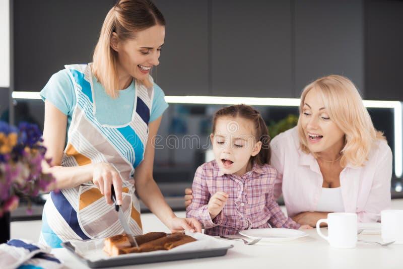 Download La Mujer Hizo Una Empanada Excelente Una Muchacha Y Otra Mujer Quieren Intentarlo Imagen de archivo - Imagen de hornada, abuela: 100530527