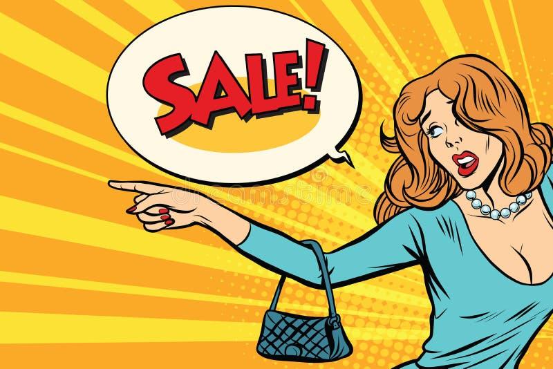 La mujer indica ventas ilustración del vector