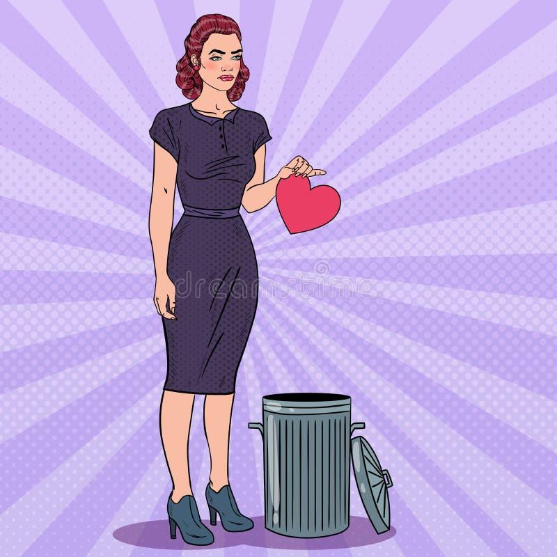 La mujer infeliz lanza su corazón en la basura Amor no correspondido Ejemplo del arte pop stock de ilustración